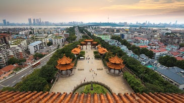 A view over a plaza in Wuhan, China