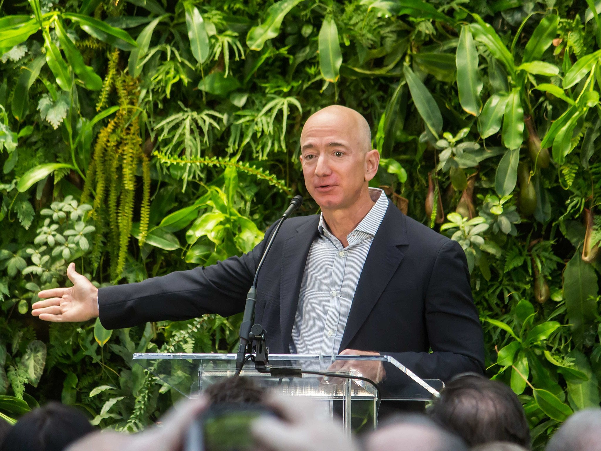 jeff bezos standing in front of a plant wall