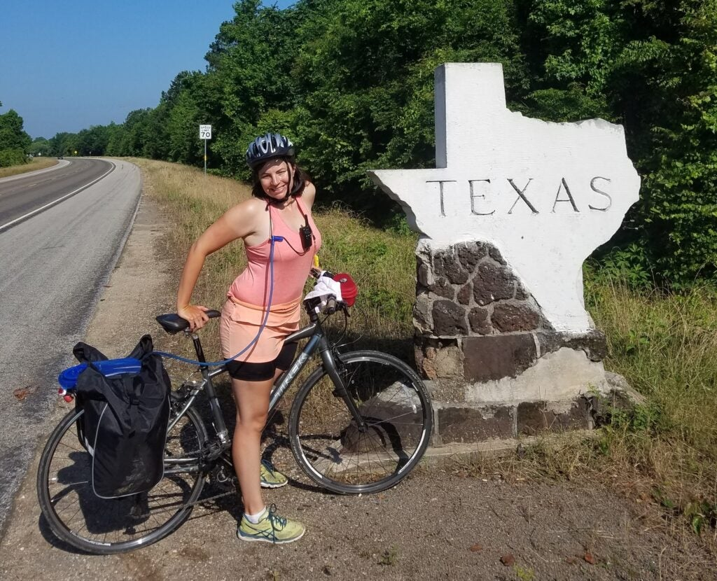 Biker by Texas state line
