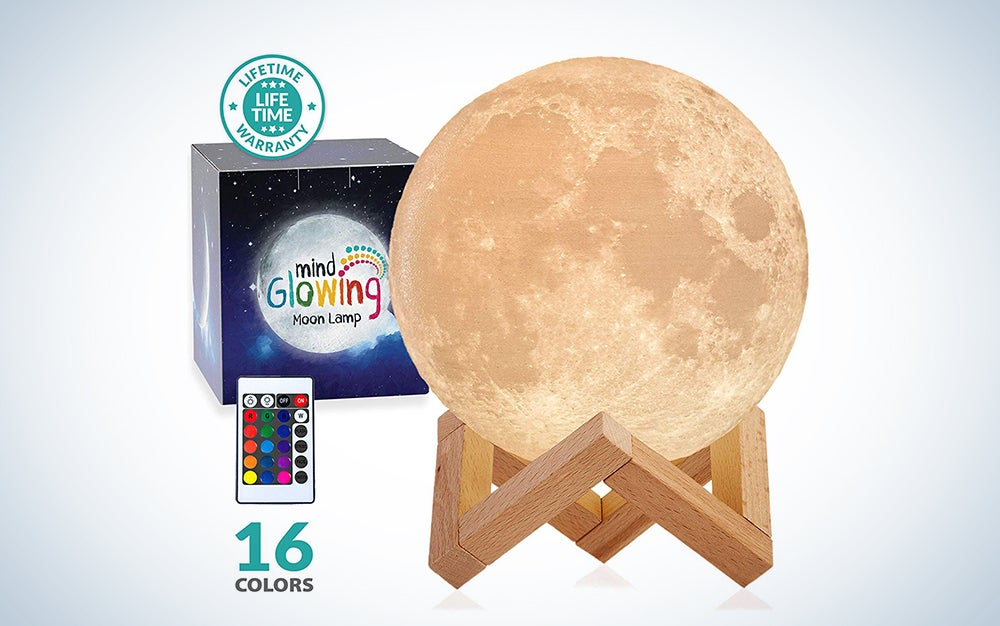 Moon Lamp, LOGROTATE 16 Colors LED 3D Print Moon Light with Stand & Remote&Touch Control and USB Rechargeable, Moon Light Lamps for Kids Friends Lover Birthday Gifts