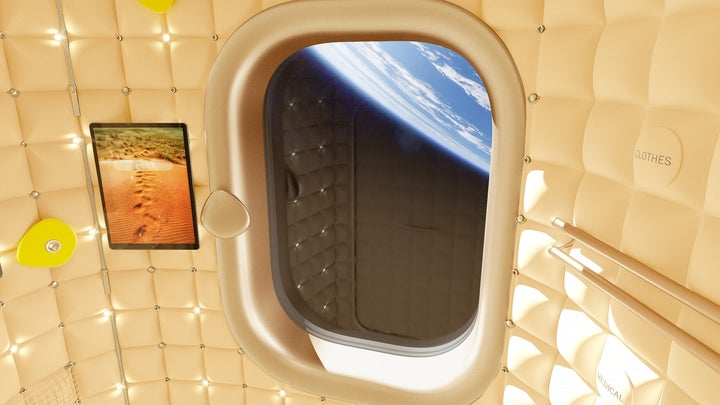 a mock up of what commercial space travel may look like