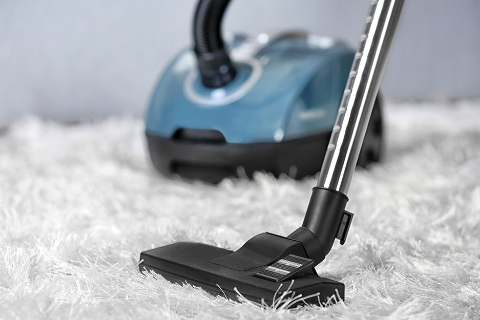 canister vacuum on a carpet