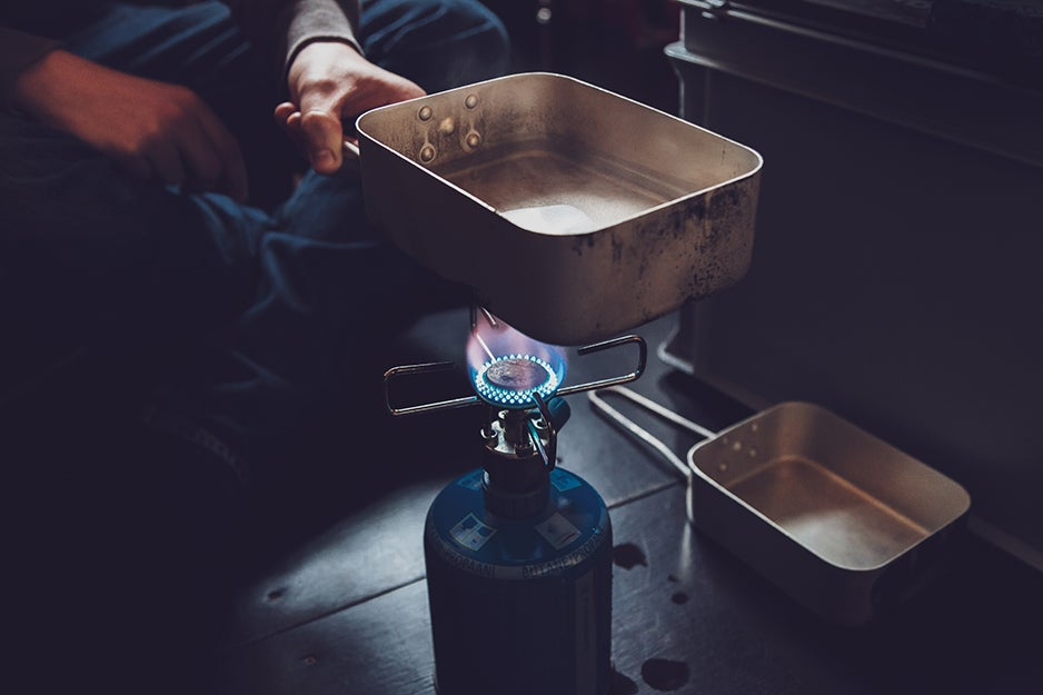 food over propane burner