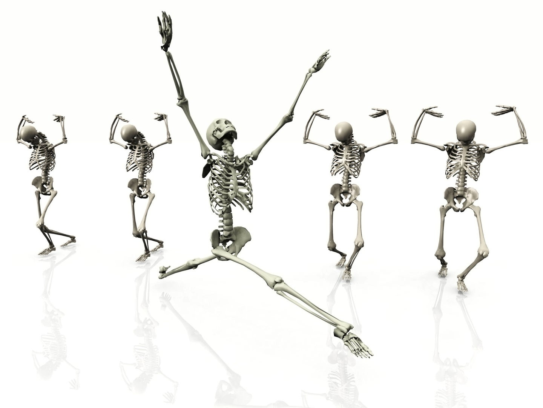 Five dancing skeletons