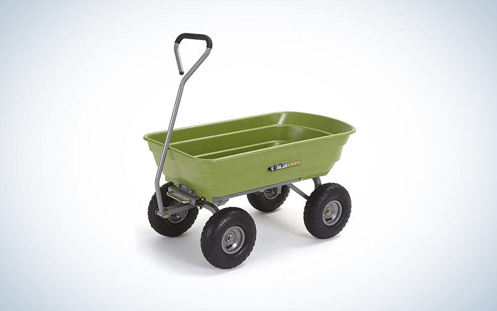 Gorilla Carts Heavy-Duty Poly Yard Dump Cart   2-In-1 Convertible Handle, 1200 lbs capacity   GOR6PS model