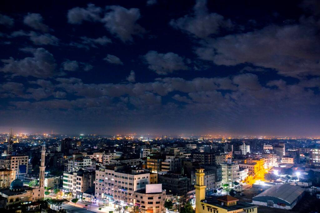 The Gaza City skyline at night.