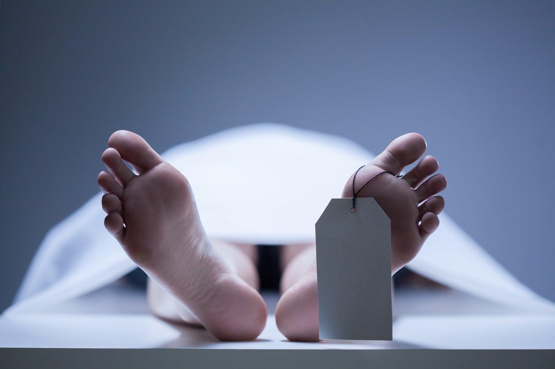 Dead body on gurney