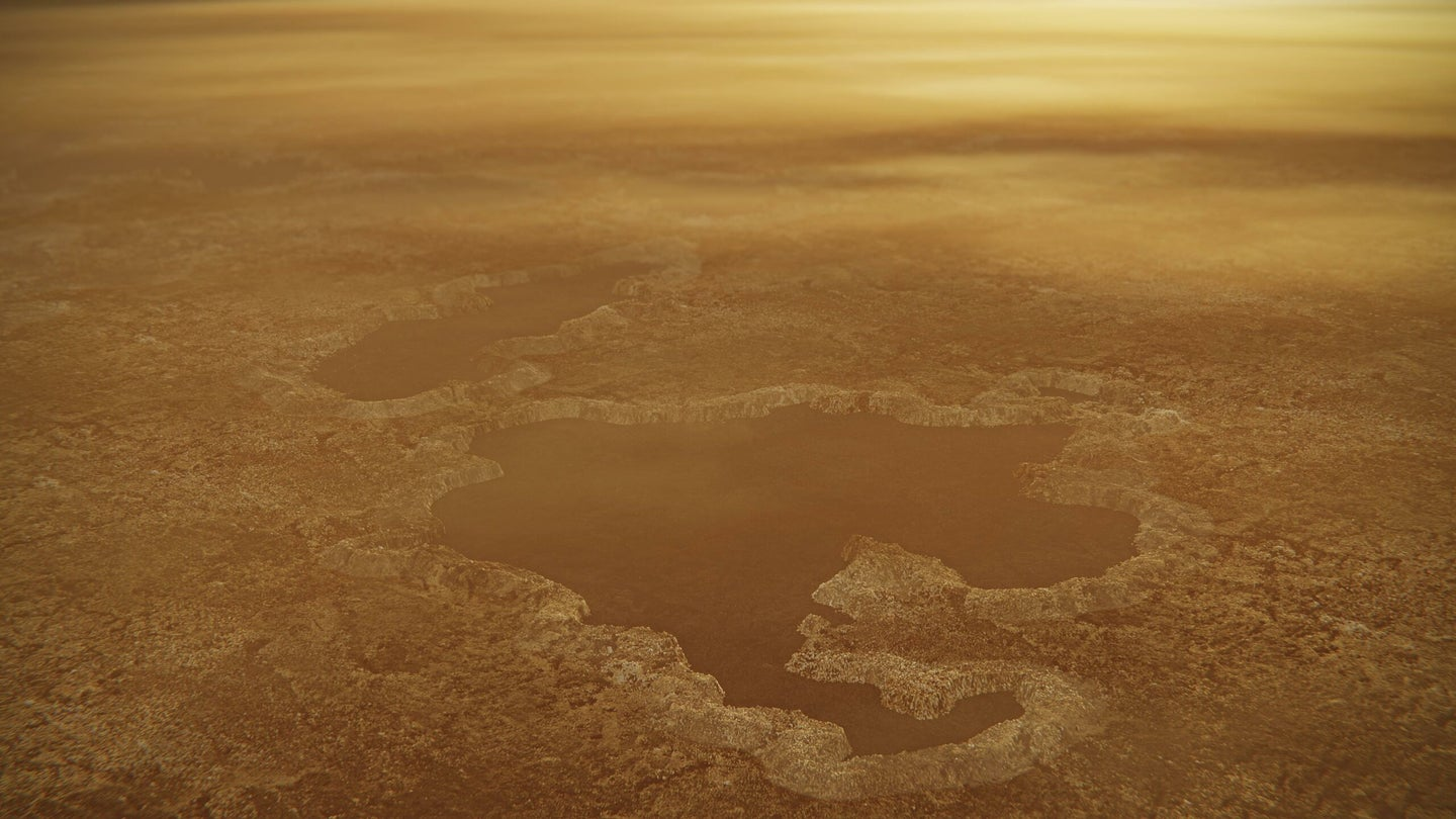 A methane and ethane lake on Titan's surface.