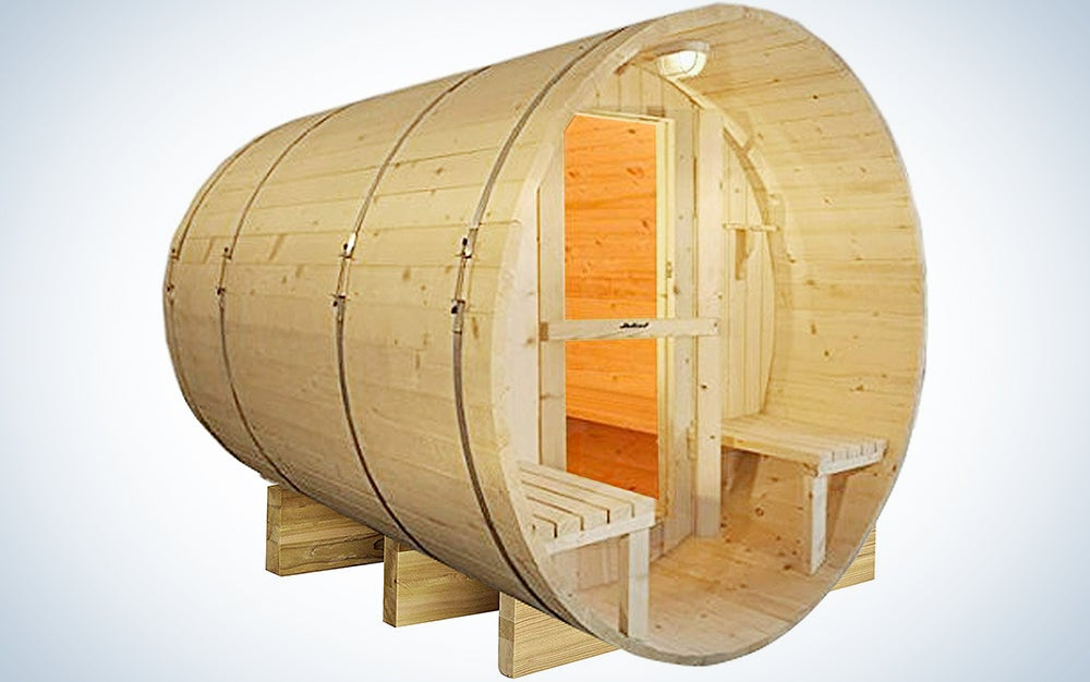 Canadian Red Cedar Wood 6' Foot Outdoor Barrel Sauna, 4 Person, with 9KW Wet or Dry Heater and Lava Rocks