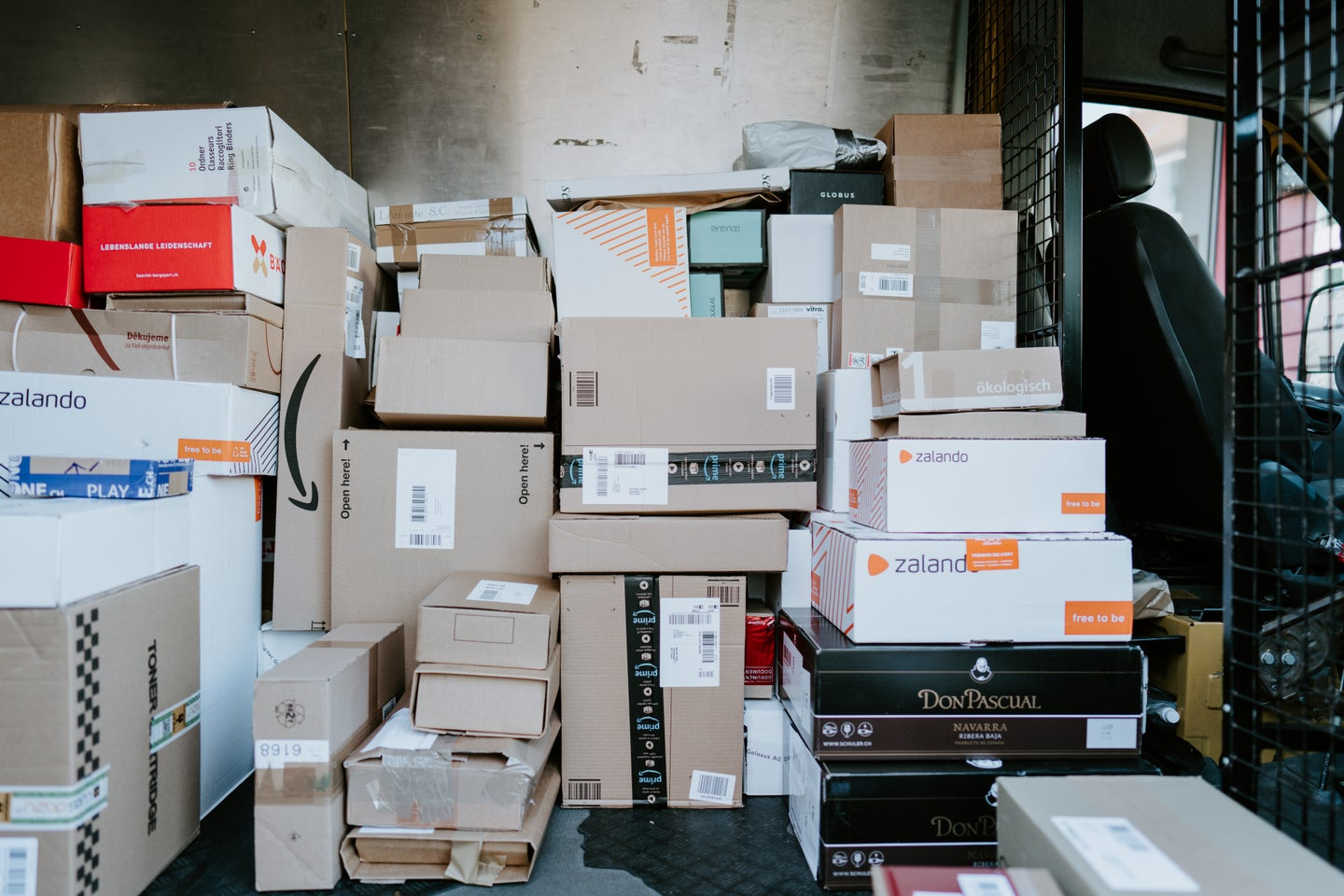 boxes piled in delivery truck