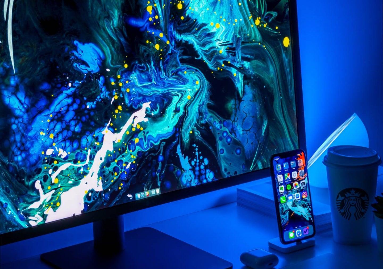 Desktop computer with wallpaper