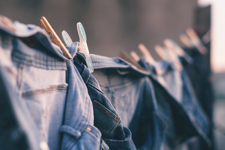 jeans hanging on a line