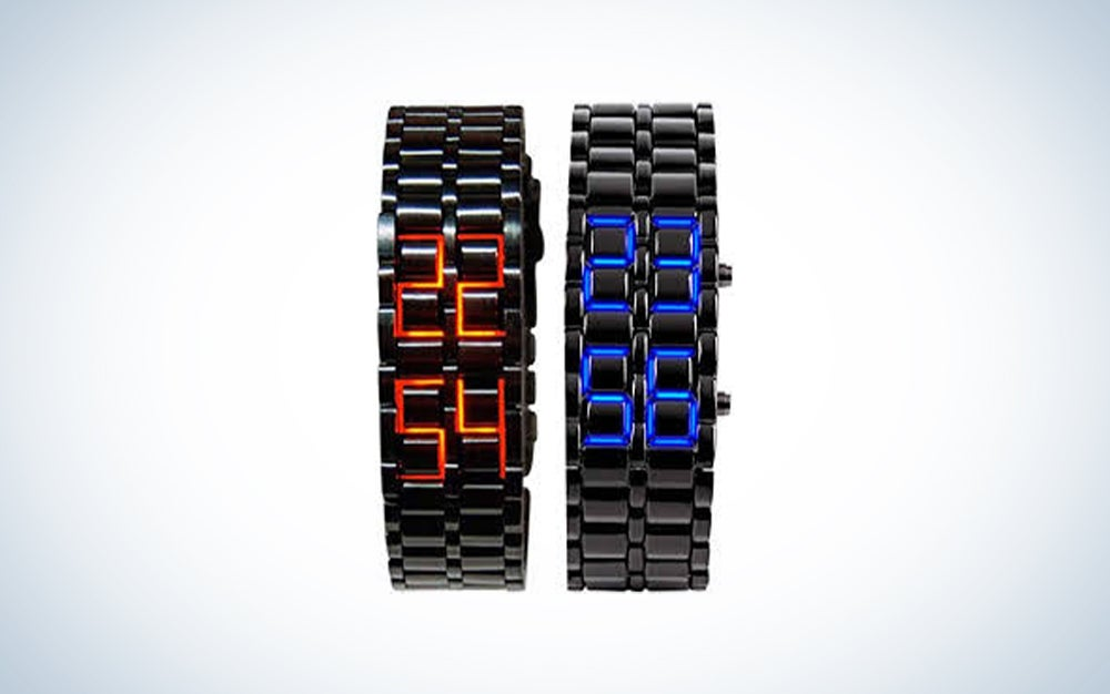Mastop Men's Lava Stainless Steel Lava RED LED Digital Bracelet Watch
