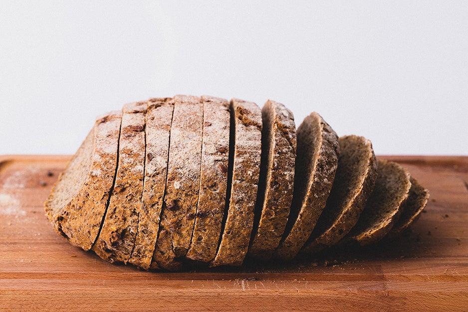 sliced bread on a wooden block