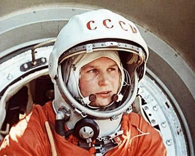 Soviet cosmonaut Valentina Tereshkova prepares for launch on the Vostok 6.