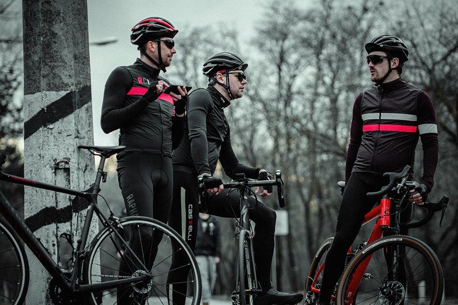 Cyclists wearing sunglasses