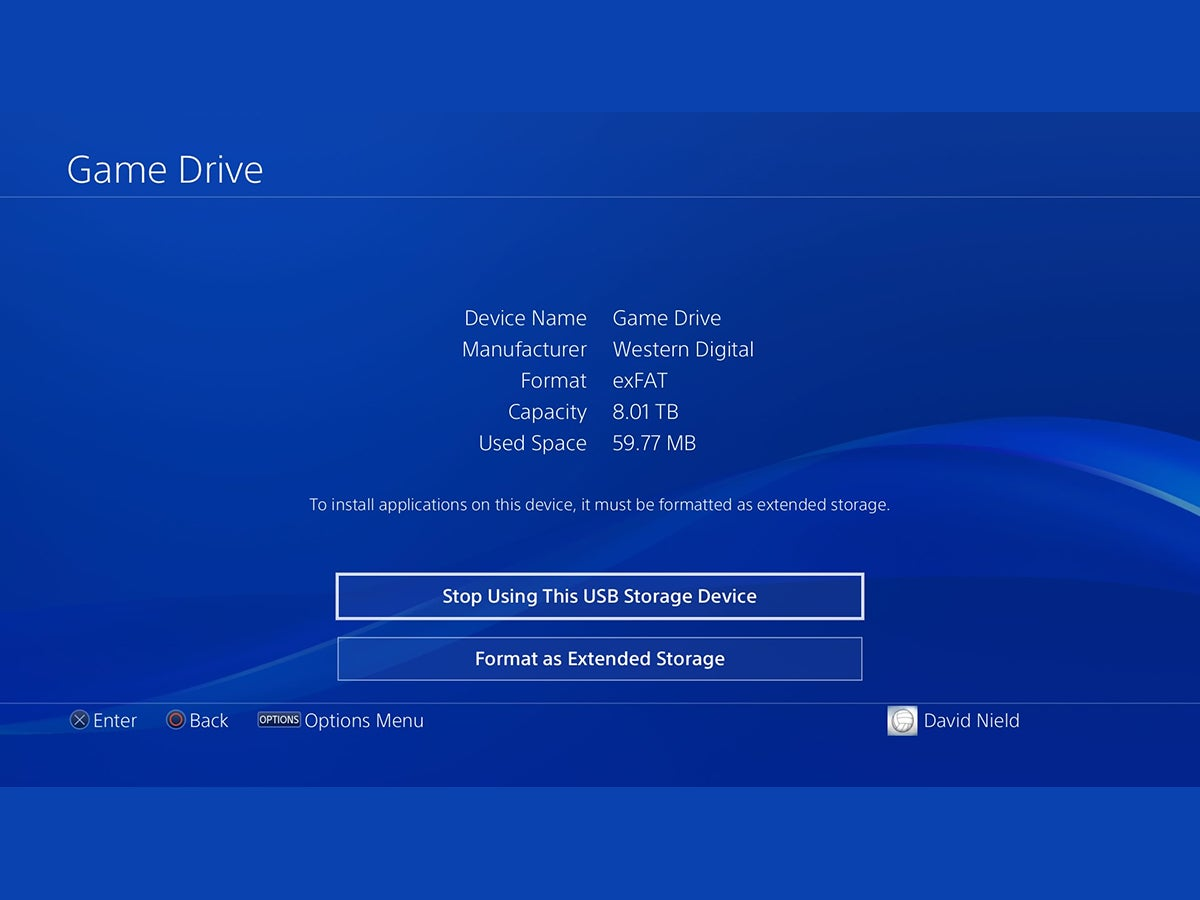 The settings screen for an external PS4 storage device.