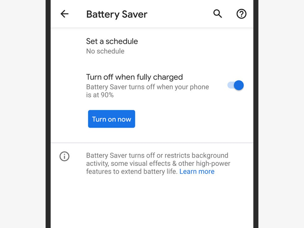 a screenshot of the battery saver mode in Android