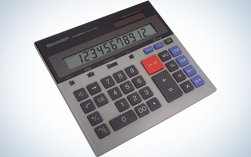 Sharp QS-2130 12-Digit Commercial Desktop Calculator with Kickstand, Arithmetic Logic, Battery and Solar Hybrid Powered LCD Display