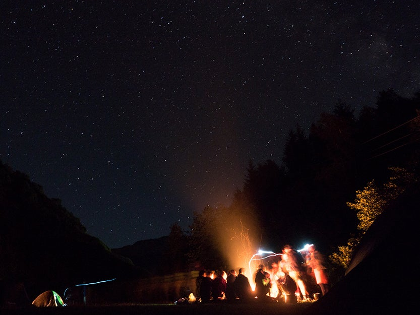 fire at a campsite