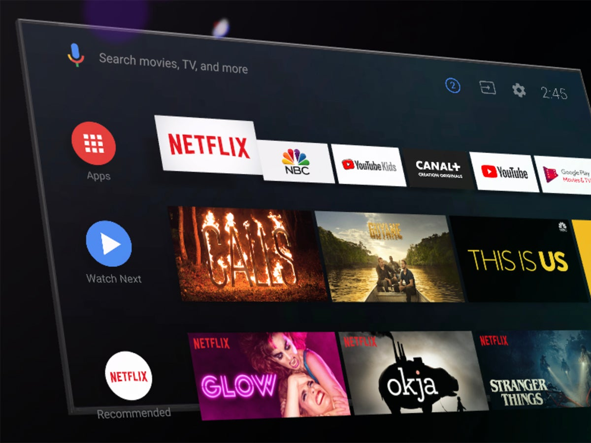 a photo of the Android TV interface