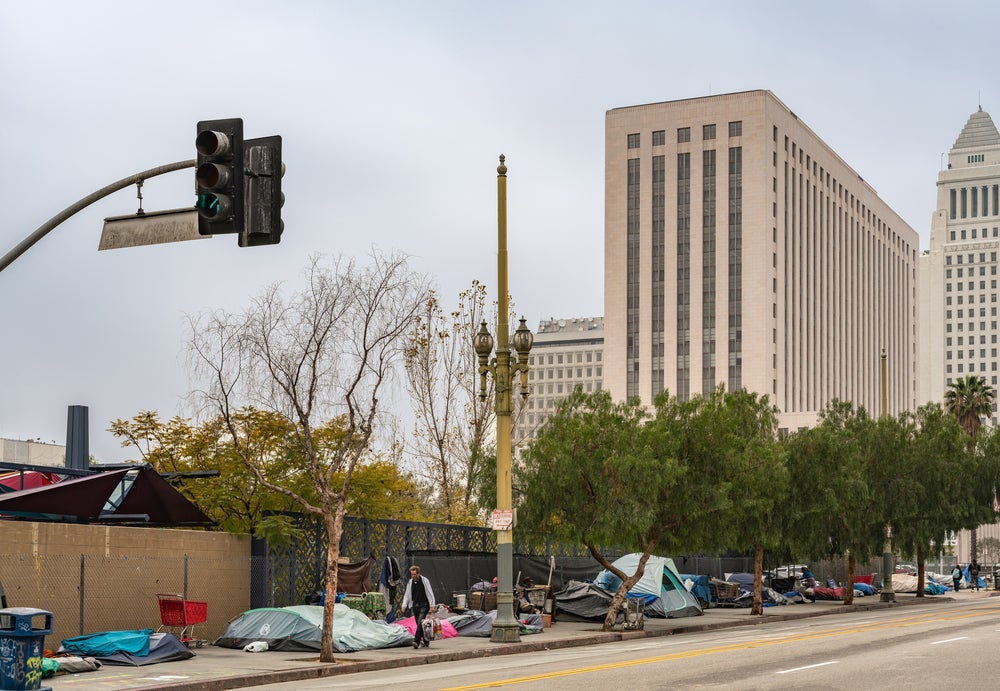 A homeless camp in downtown Los Angeles