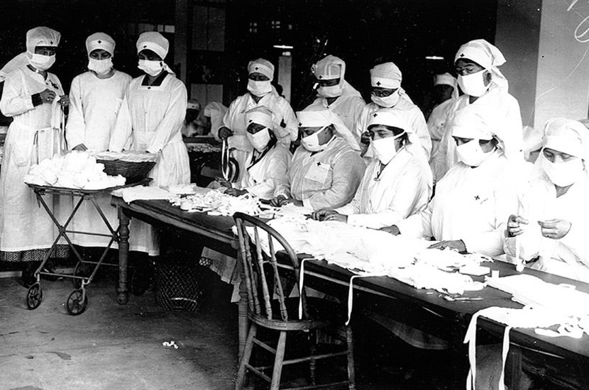 red cross volunteers with masks on