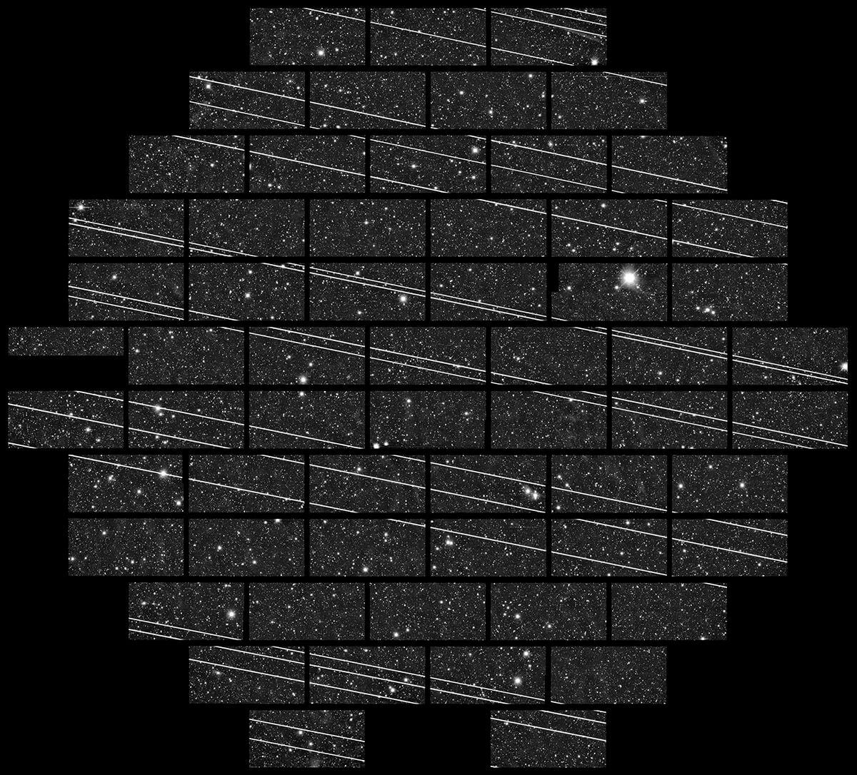 Starlink satellites streak across telescope images of the stars.