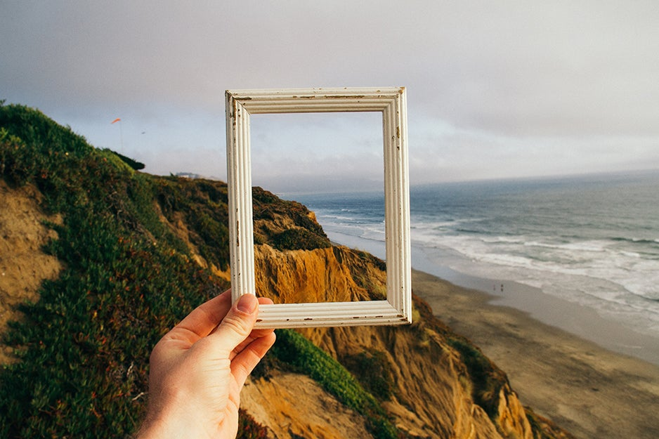 picture frame and a mountain