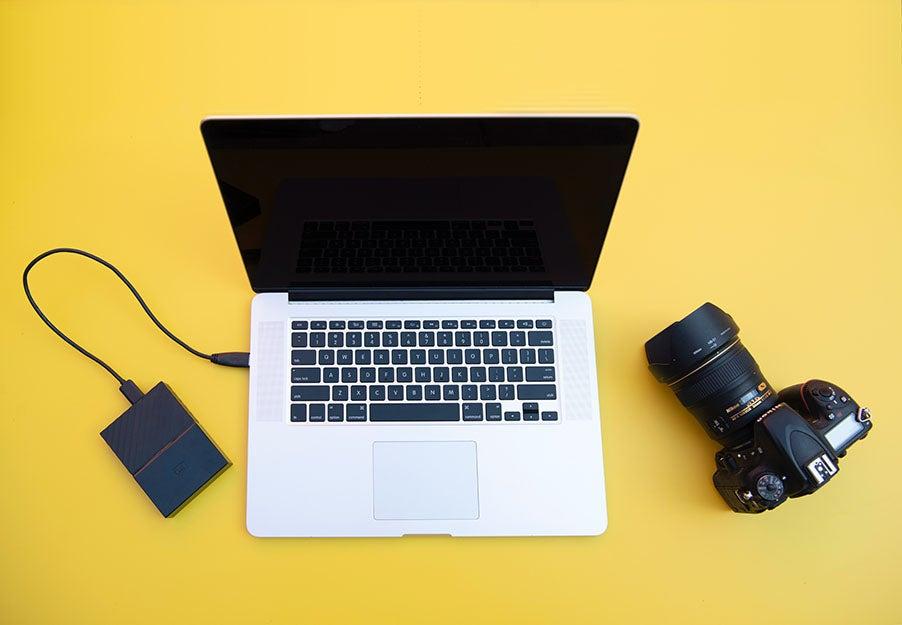 computer, hard drive, and camera