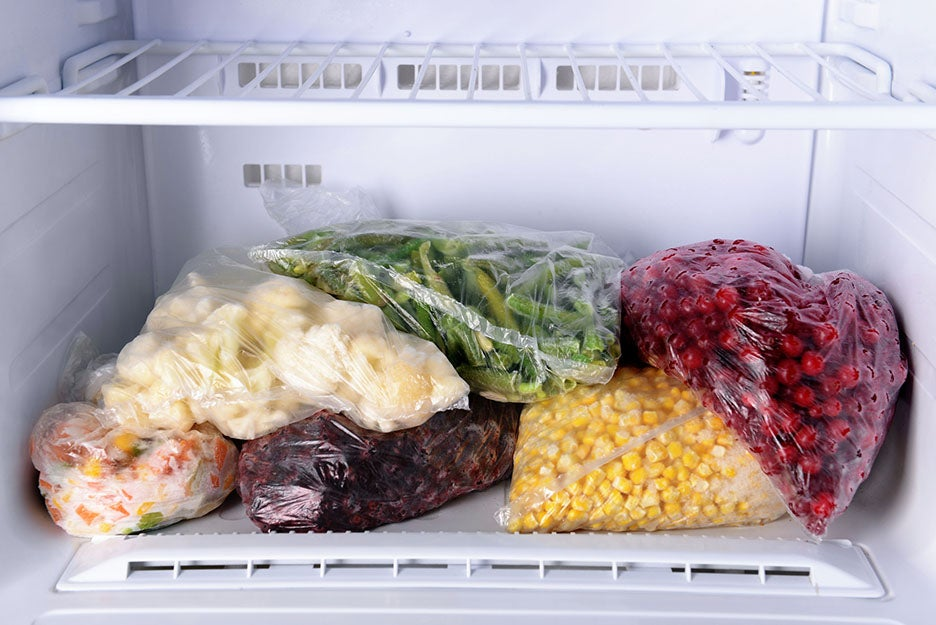 food in a freezer