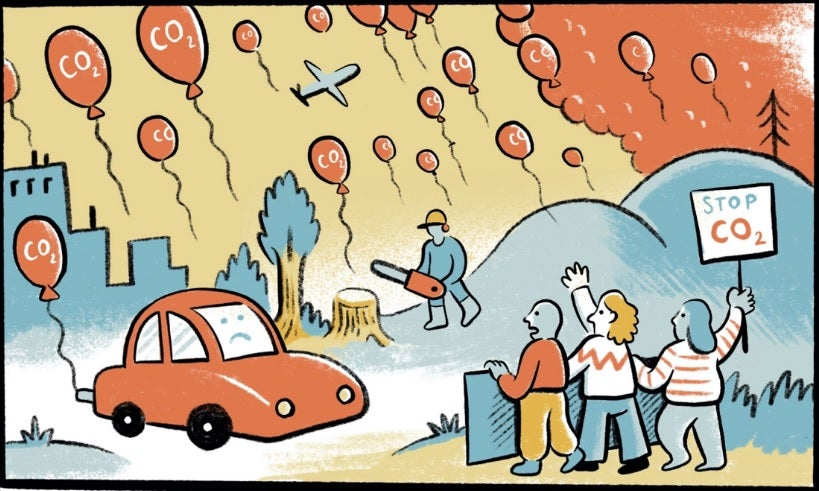 A panel from a comic strip about CO2 emissions and global heating