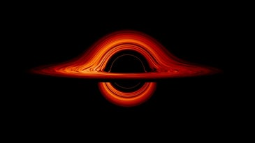 A rendering of the light streaming around a black hole.