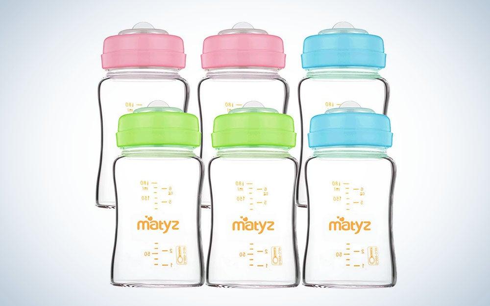 Matyz 6-Pack Borosilicate Glass Breast Milk Bottles