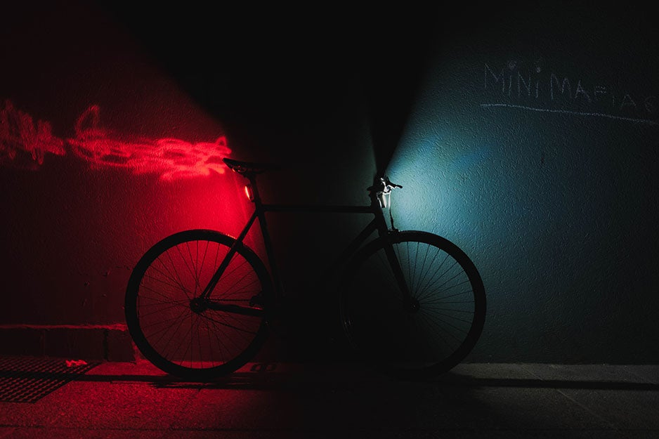 bike with lights on front and back