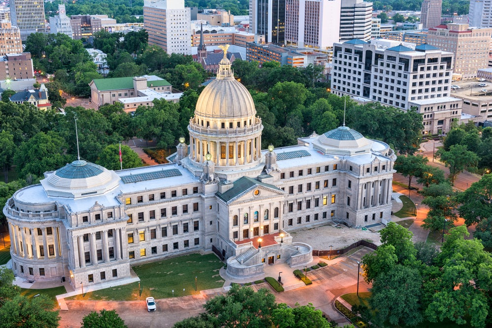 The Mississippi capitol building in Jackson