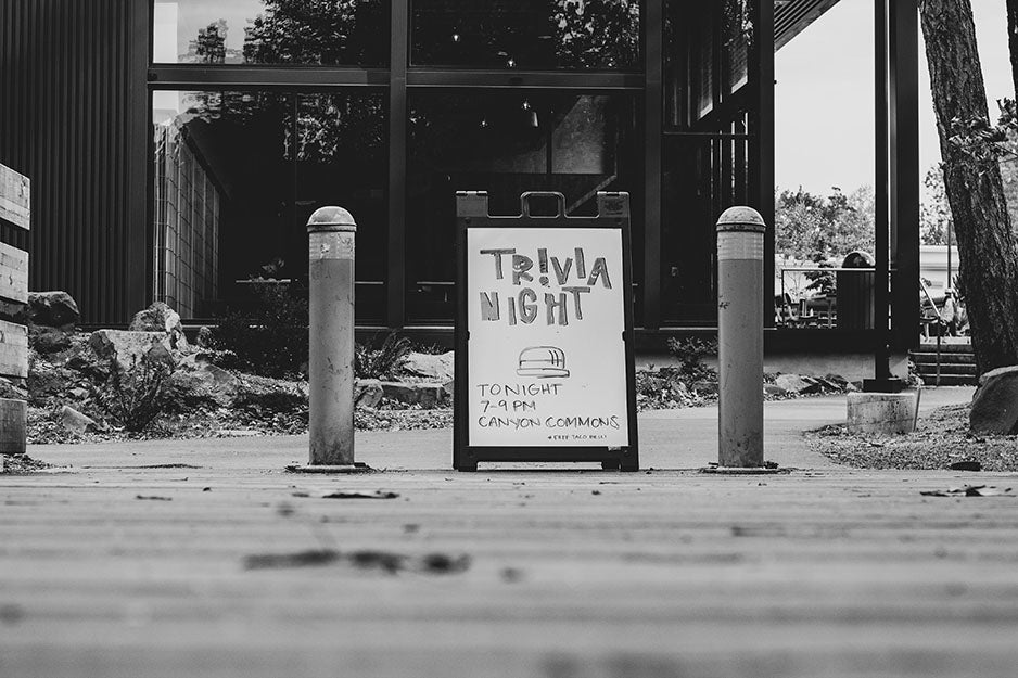 trivia sign on the street