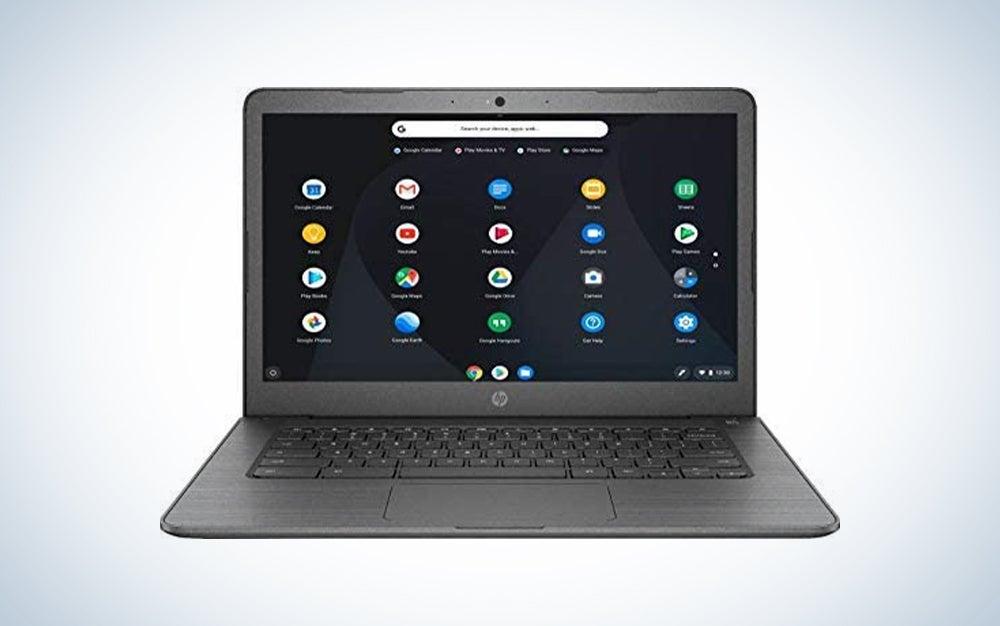 HP Chromebook 14-inch Laptop, AMD Dual-Core A4-9120c Processor 1.6 GHz, 4 GB DDR4 SDRAM, 32 GB eMMC Storage + Oydisen 32GB SD Card, Webcam, WiFi, Bluetooth, Chrome OS