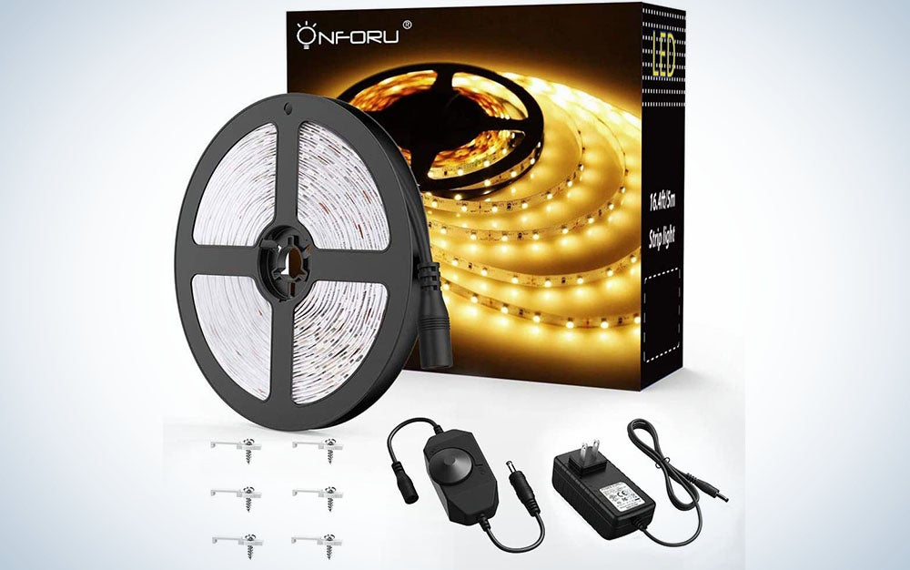 Onforu 16.4ft LED Strip Light, 6000K Daylight White Dimmable Tape Light, 5m 12v Ribbon Light, 2835 LEDs Flexible Vanity Mirror Light for Home, Kitchen, Under Cabinet, Bedroom, Non-Waterproof