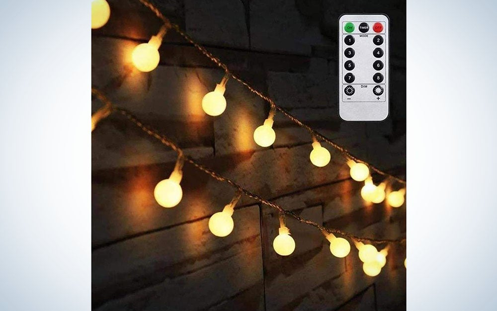 AMARS Christmas LED Globe String Lights Battery Operated with Remote Timer Bedroom Party Decorative Fairy Lights for Christmas Tree, Indoor, Outdoor (16.4ft, Warm White)