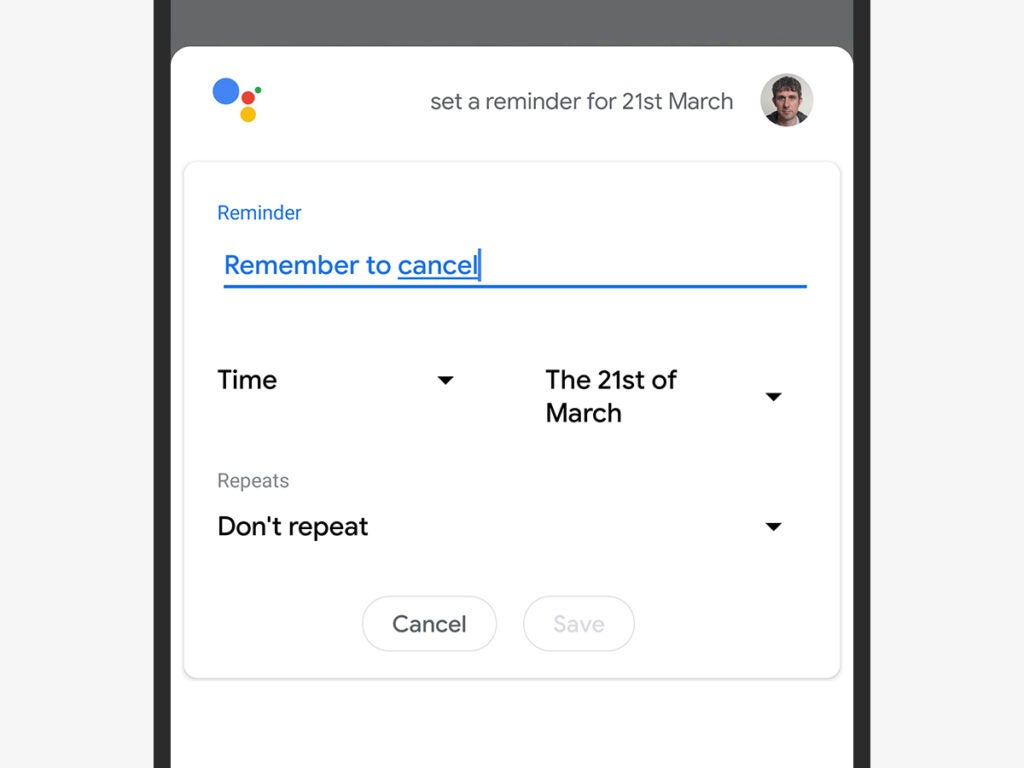 a screenshot of a Google Assistant reminder to cancel a free trial