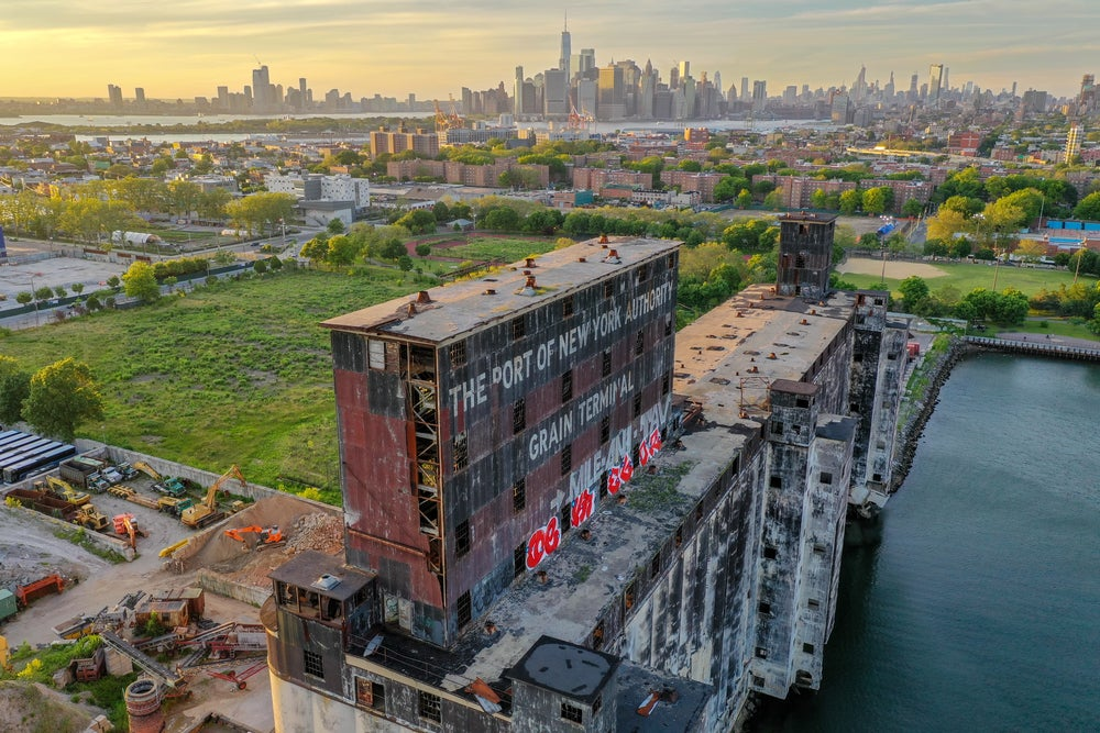 An abandoned port building in the Red Hook neighborhood of Brooklyn, New York