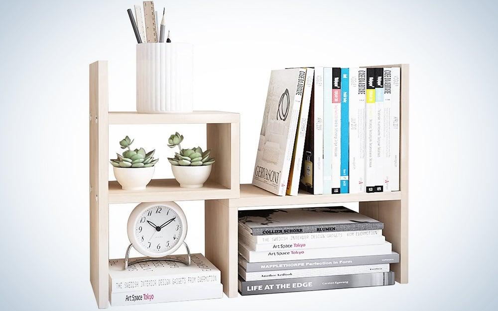 Desktop Organizer Office Storage Rack Adjustable Wood Display Shelf