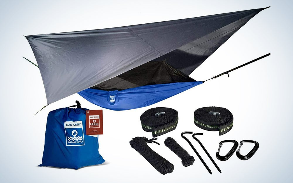 Oak Creek Lost Valley Camping Hammock | Bundle Includes Mosquito Net, Rain Fly, Tree Straps, & Compression Sack | Weighs 4 Pounds, Perfect for Camping | Lightweight Nylon Portable Single Hammock