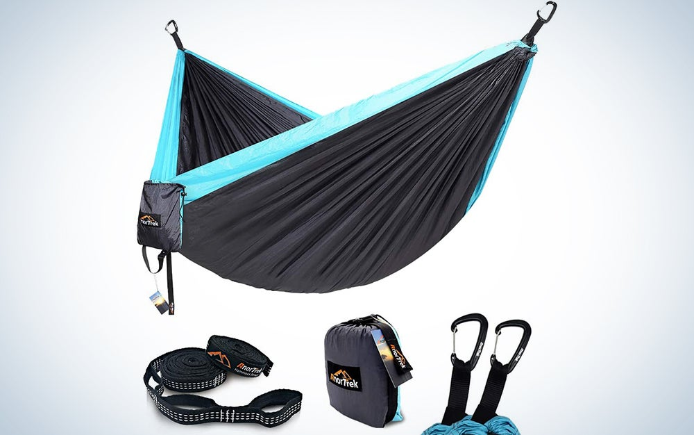AnorTrek Camping Hammock, Lightweight Portable Single & Double Hammock with Tree Straps [10 FT/18+1 Loops], Parachute Hammock for Camping