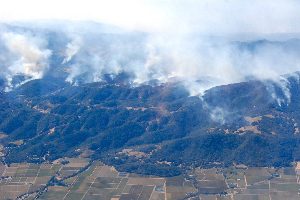 Sonoma County wildfires of 2017 seen from the air.
