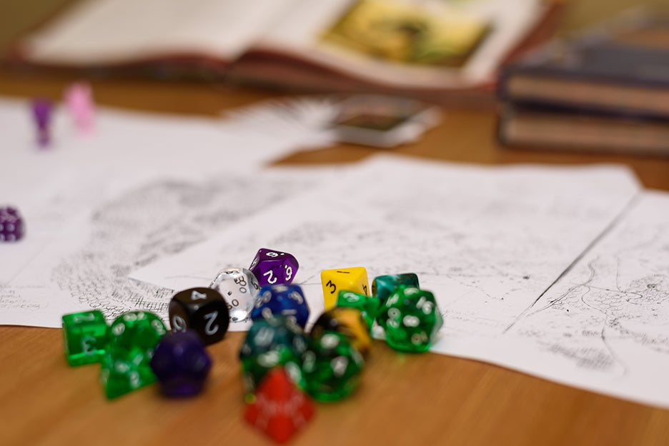 Polyhedral dice on a table
