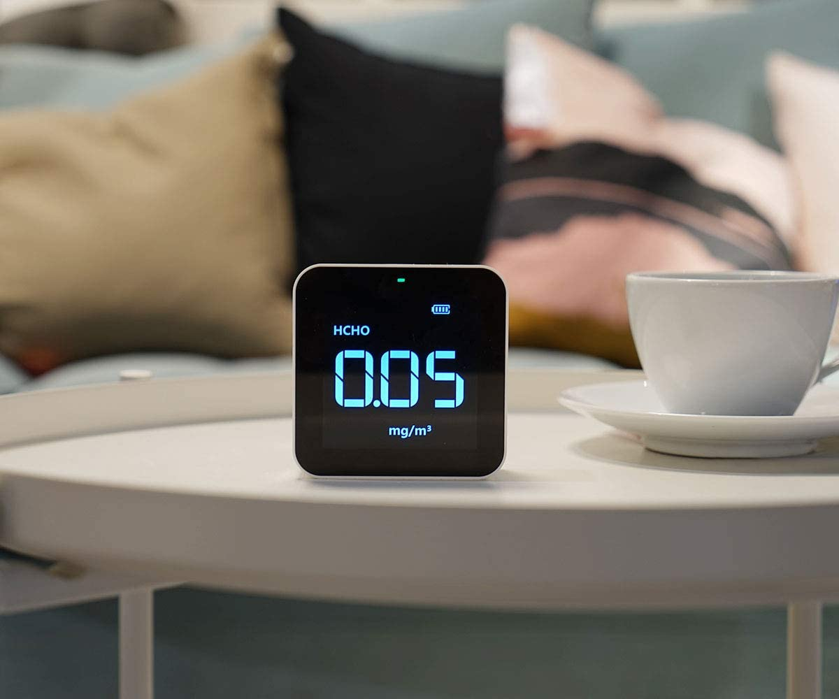air quality monitor on table
