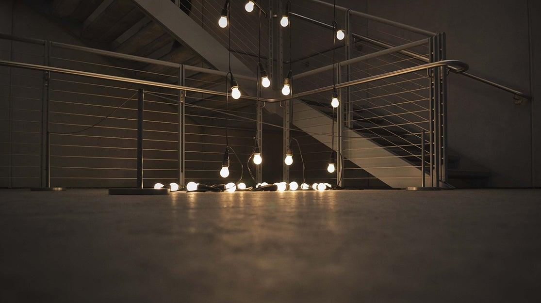 lightbulbs in a room