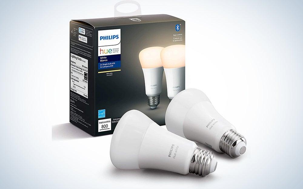 Philips Hue White 2-Pack A19 LED Smart Bulb